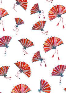 Red Oriental Fans