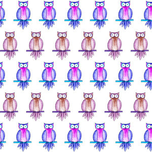 Purple And Tan Owls