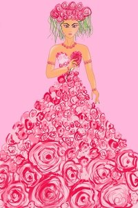 Girl With Rose Flowers Dress And Hairstyle