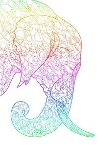 Multicolour Elephant On White