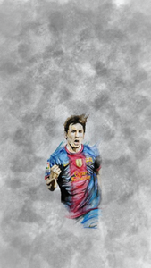Messi On Gray