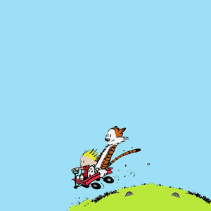 Calvin And Hobbes Sliding From Mountain