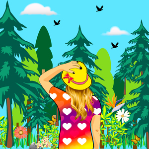 Girl Wandering In The Woods