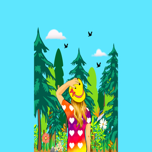 Girl In The Woods On Blue