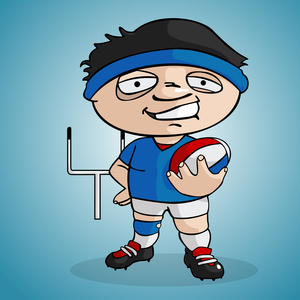 Funny Rugby Player On Blue