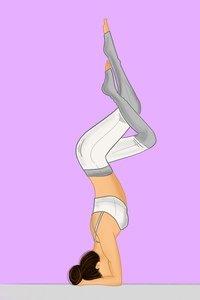 Yoga Lady Sirsasana On Purple