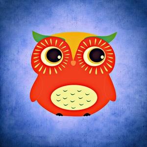 Funny Owl Bird On Blue