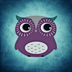 Purple Owl Bird