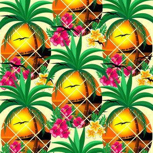 Pineapple Tropical Sunset And Flowers