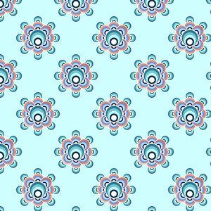 70s Flower Pattern Aqua Palette