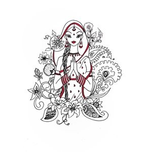 Durga Mandala On White