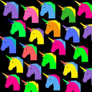 Unicorn Pattern On Black