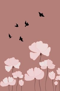 Flowers With Birds On Brown
