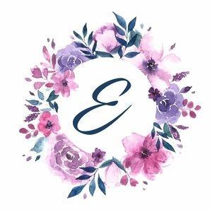 Elegant Alphabet E In Floral Frame