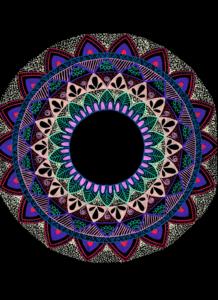 Colourful Mandala On Black