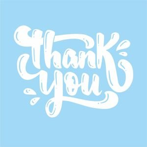 Thank You Greeting In Pastel Blue