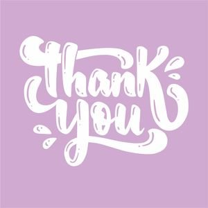 Thank You Greeting In Pastel Purple
