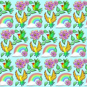 Birds Flowers And Rainbows Doodle Pattern
