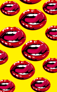 Lips Design On Yellow