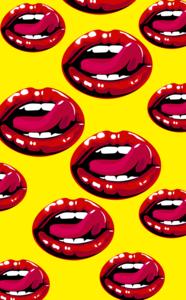 Lips Design On Yellow