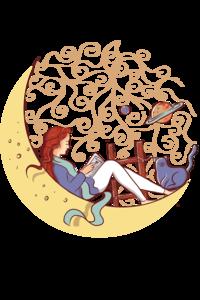 Bookworm Girl On Yellow Moon