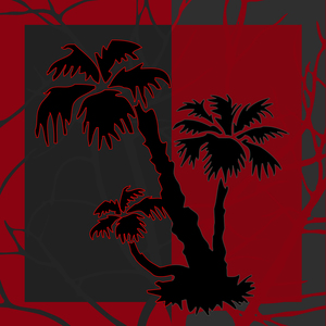 Red And Grey Silhouette Palm Tree