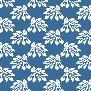 Blue White Tropical Leaf Pattern