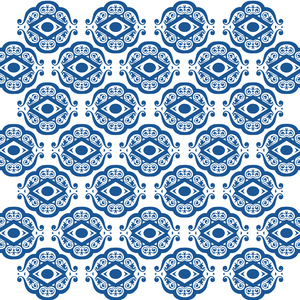 Blue White Ornate Shapes Pattern