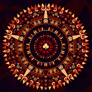 Retro Mandala In Shades Of Black And Red