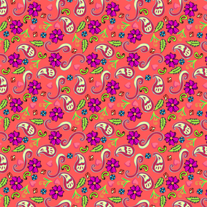 Multicolor Floral Pattern On Pink