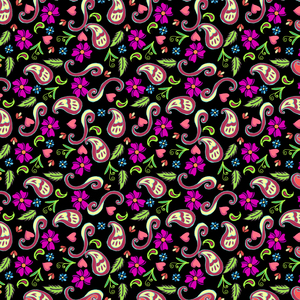 Multicolor Floral Pattern In Black