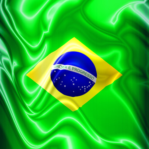 Brazil Flag Waving Silk Fabric