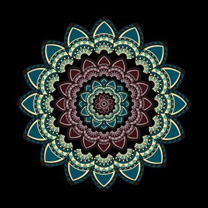 Mandala With Petals On Black