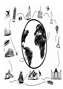 Around The World Hand Drawn On White