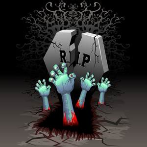 RIP Zombie Hands On Cemetery