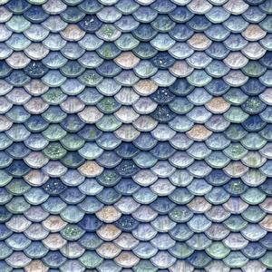 Blue White Glitter Mermaid Fish Scales
