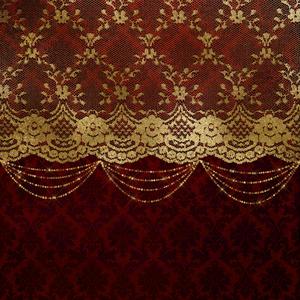 Vintage Shabby Chic Luxury Gold Lace On Purple Damask