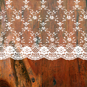 Vintage Shabby Chic White Lace On Dark Wood