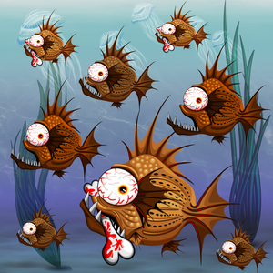 Psycho Fish Piranha With Bone