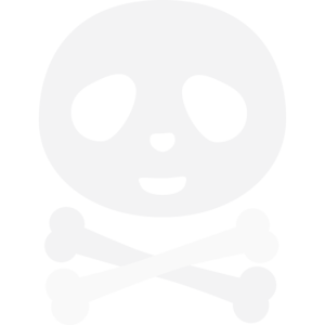 Kawaii Panda Pirate Skull On Black
