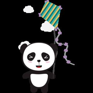 Panda With Colorful Kite