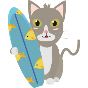 Cat With Surfboard