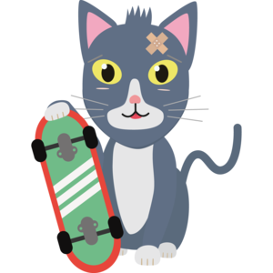 Cat With Skateboard