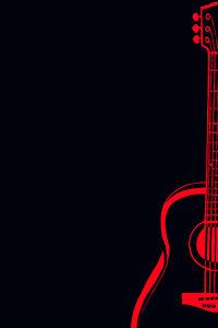 Red Guitar On Black