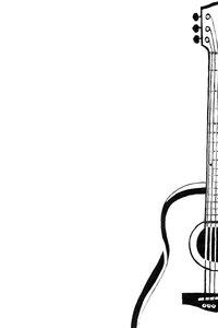 Black Guitar On White