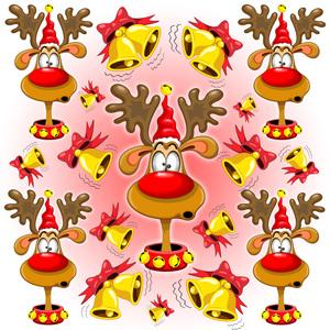 Reindeer Fun Christmas Cartoon With Bells