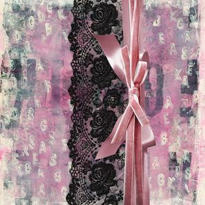 Vintage Shabby Chic Black Lace Pink Ribbon