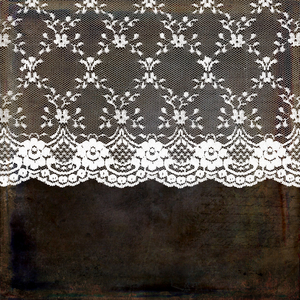 Vintage Shabby Chic White Bride Lace On Dark Grunge