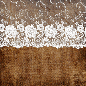 Vintage Shabby Chic White Bride Lace On Dark Burlap