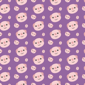Cute Piggy Heads On Purple